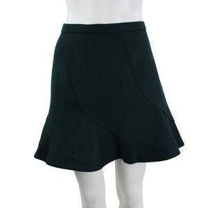 J Crew Green Wool High Waist Flare Mini Skirt